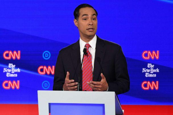 PHOTO:Democratic presidential candidate former Housing and Urban Development Secretary Julian Castro speaks during the fourth Democratic primary debate of the 2020 presidential campaign season in Westerville, Ohio, Oct. 15, 2019. (Saul Loeb/AFP via Getty Images)