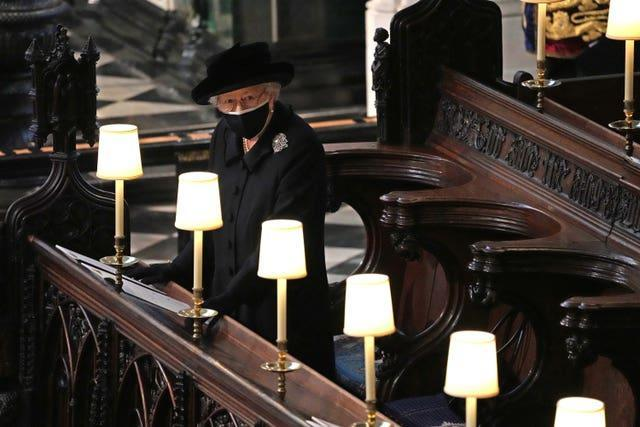 The Queen during the funeral of the Duke of Edinburgh in St George's Chapel, Windsor Castle, Berkshire