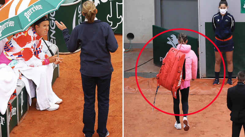 Victoria Azarenka, pictured here walking off court complaining about the conditions at the French Open.
