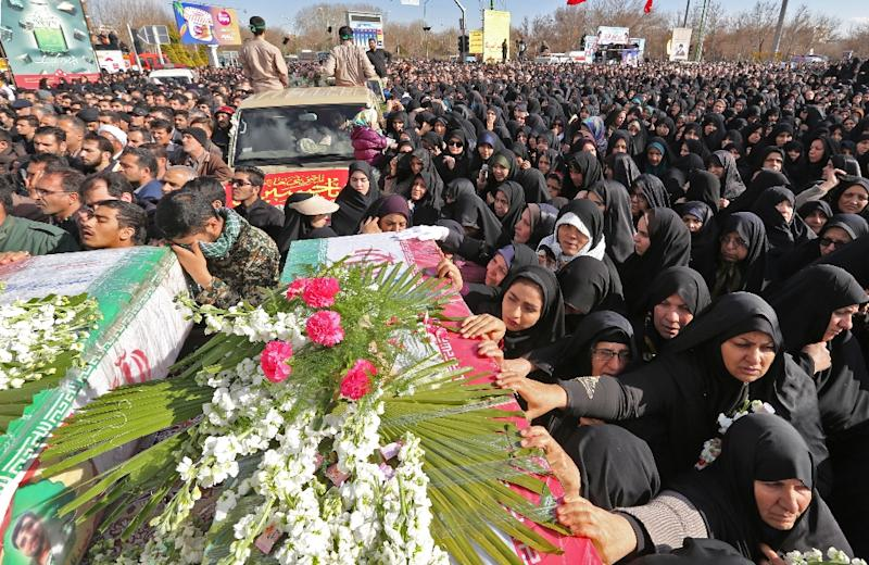 Crowds of mourners attended the funerals of the Revolutionary Guards killed in the February attack in the Sistan-Baluchistan border region