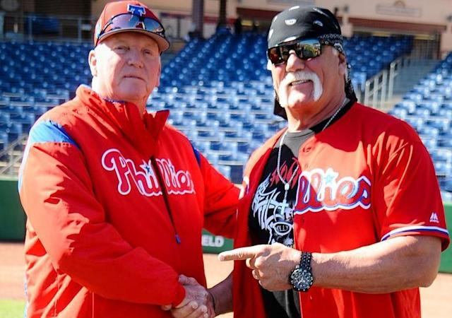 "Hulk Hogan shakes hands with former <a class=""link rapid-noclick-resp"" href=""/mlb/teams/phi/"" data-ylk=""slk:Philadelphia Phillies"">Philadelphia Phillies</a> manager Charlie Manuel. (Phillies)"