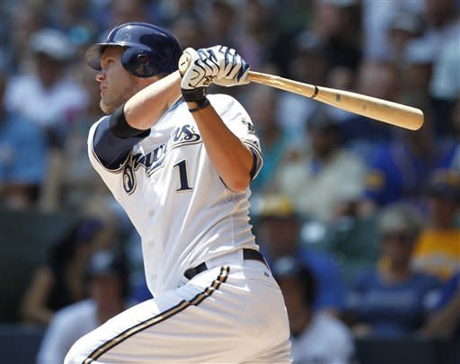 Milwaukee Brewers' Corey Hart hits a two-RBI double off St. Louis Cardinals starting pitcher Adam Wainwright during the first inning of a baseball game Wednesday, July 18, 2012, in Milwaukee. (AP Photo/Jeffrey Phelps)