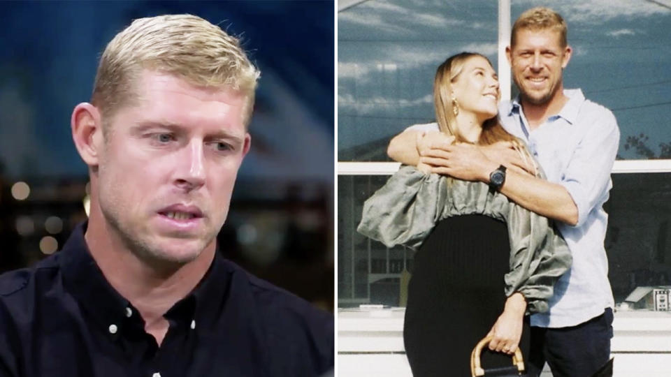 Mick Fanning getting emotional during his interview on 60 Minutes (pictured left) and hugging his fiancee Breeana Randall (pictured right).