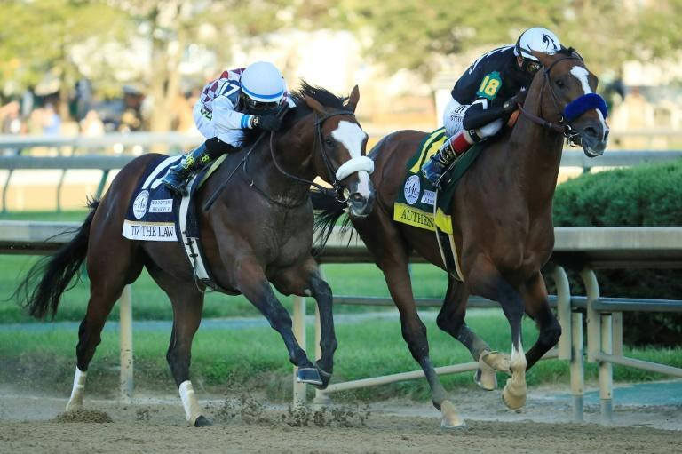 Authentic and Tiz the Law -- seen here finishing one-two in the 2020 Kentucky Derby, renew their rivalry in the $6 million Breeders' Cup Classic at Keeneland