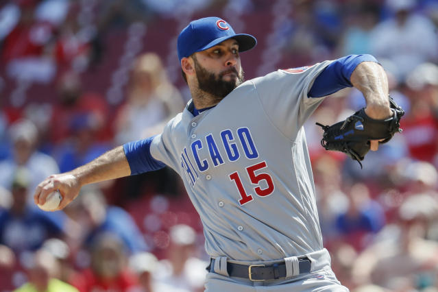 Brandon Morrow injured himself while taking off his pants. (AP Photo/John Minchillo)