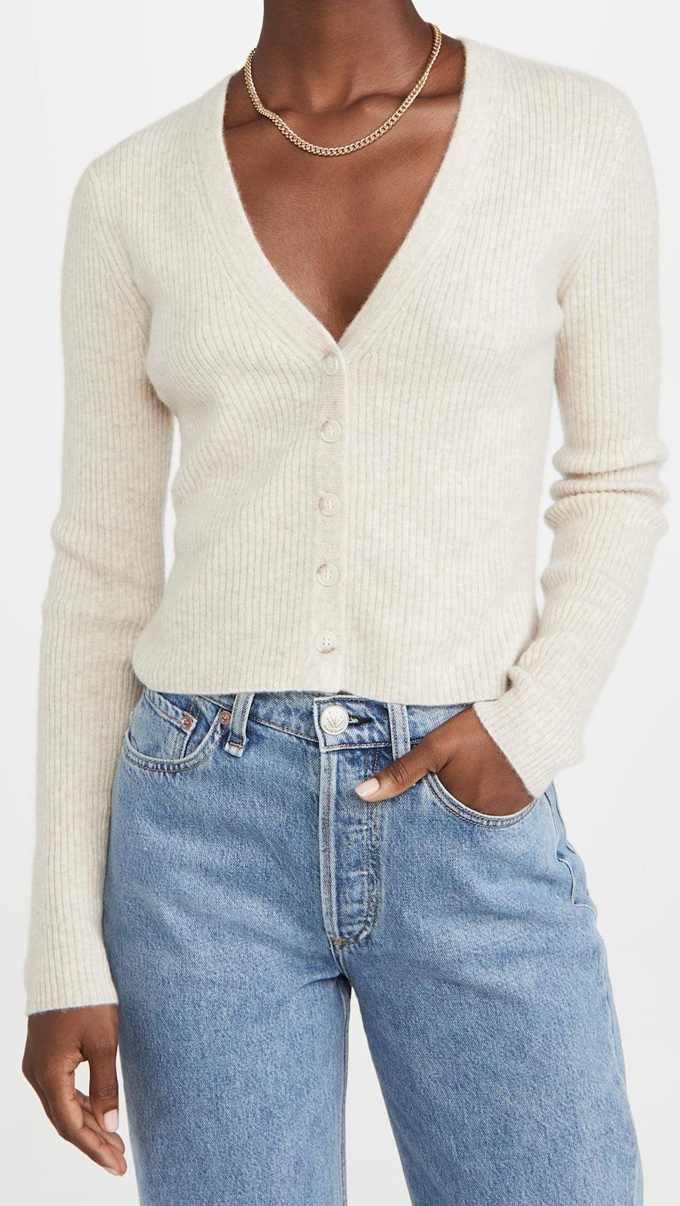<p>Pair this <span>Naadam Ribbed Cashmere Cardigan</span> ($265) with jeans and mules for a polished look.</p>