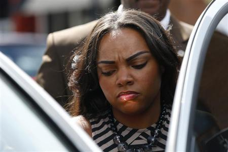 Shayanna Jenkins, fiancee of Aaron Hernandez, a former player for the NFL's New England Patriots football team, leaves the Bristol County Superior Court in Fall River