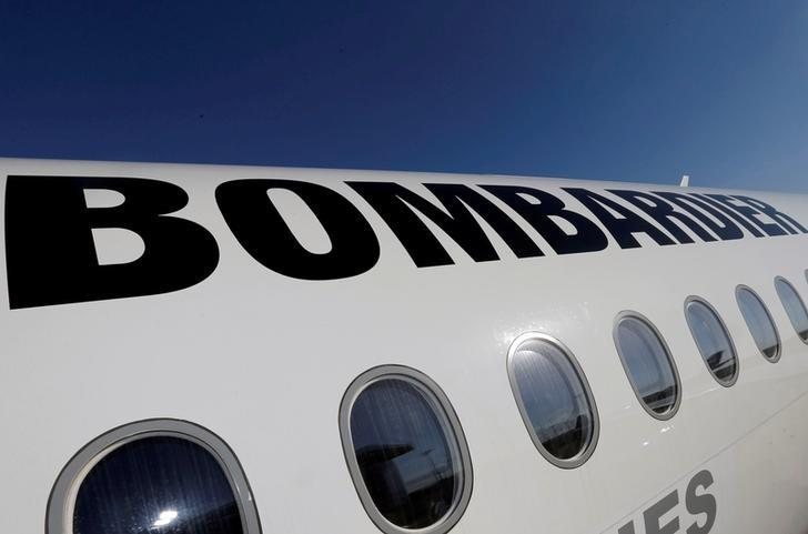 FILE PHOTO: A Bombardier CSeries aircraft is pictured during a news conference to announce a partnership between Airbus and Bombardier on the C Series aircraft programme, in Colomiers near Toulouse