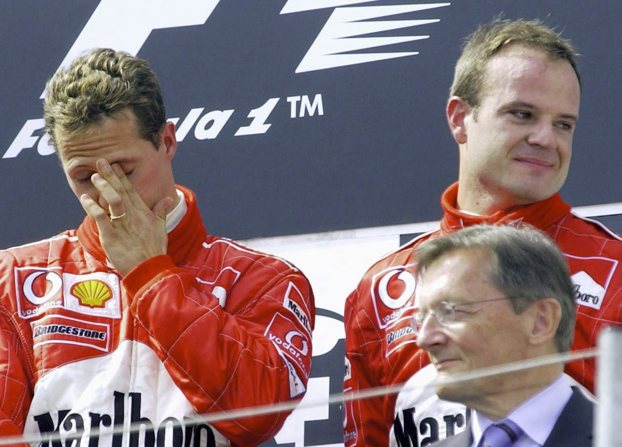 SPIELBERG, AUSTRIA - MAY 12:  GP VON OESTERREICH 2002, Spielberg; SIEGEREHRUNG: SIEGER Michael SCHUMACHER/GER, 2. PLATZ Rubens BARRICHELLO/BRA - FERRARI -  (Photo by Christof Koepsel/Bongarts/Getty Images)