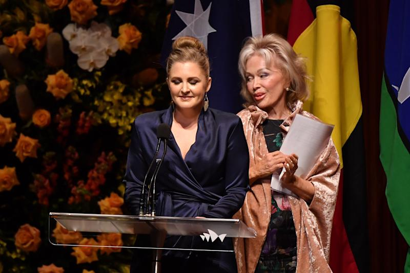Blanche d'Alpuget and Mr Hawke's granddaughter Sophie Taylor-Price speak during the State Memorial service. Source: AAP