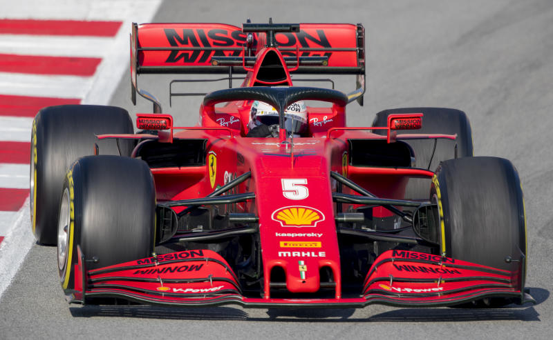 Scuderia Ferrari Mission Winnow's Sebastian Vettel drives during a the Formula One pre-season testing session at the Barcelona Catalunya racetrack in Montmelo, outside Barcelona, Spain, Friday, Feb. 21, 2020. (AP Photo/Joan Monfort)