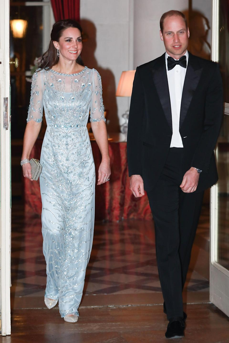<p>For a dinner at the British Embassy, the Duchess of Cambridge wore a glitzy Jenny Packham dress which weighed in at £4,162. <em>[Photo: Getty]</em> </p>