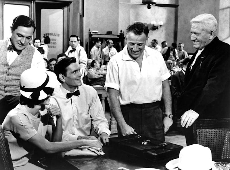 From l to r: Kelly, Donna Anderson, York, Stanley Kramer and Tracy on the set of 'Inherit the Wind' (Photo: Everett Collection)