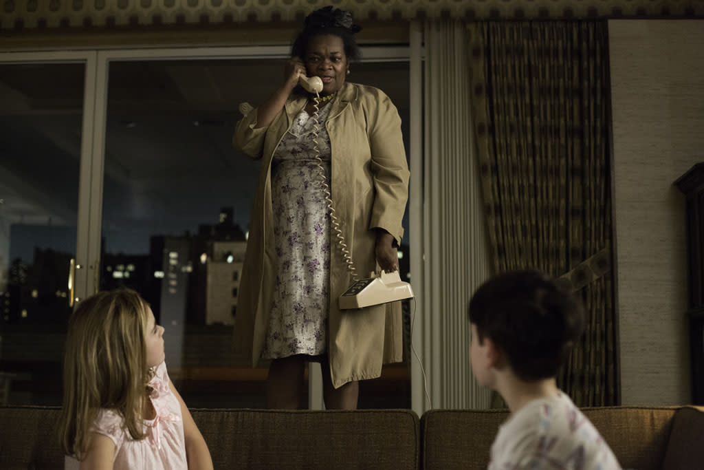 Grandma Ida (Davenia McFadden) with Sally Draper (Kiernan Shipka) and Bobby Draper (Mason Vale Cotton) - Mad Men _ Season 6, Episode 8 _ 'The Crash' - Photo Credit: Jordin Althaus/AMC