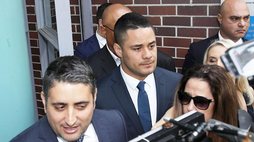Jarryd Hayne is seen here outside court where he pleaded not guilty to rape charges.