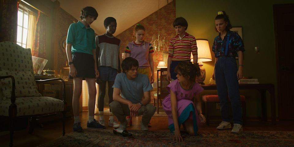 """<p>Group costume, anyone? Every person in your crew can channel their favorite <em>Stranger Things </em>character after one quick trip to the thrift store. Basically, just throw on a pair of Chuck Taylors and a T-shirt – they'll get it. </p><p><strong>What you'll need: </strong><em>Red Chuck Taylor All-Star High Top, $55, Converse</em></p><p><a class=""""link rapid-noclick-resp"""" href=""""https://go.redirectingat.com?id=74968X1596630&url=https%3A%2F%2Fwww.converse.com%2Fshop%2Fp%2Fchuck-taylor-all-star-high-top-unisex-shoe%2FM9621.html%3Fdwvar_M9621_color%3Dred%26styleNo%3DM9621%26cgid%3Dwomens-classic-chuck-shoes&sref=https%3A%2F%2Fwww.seventeen.com%2Fcelebrity%2Fmovies-tv%2Fg28354429%2Fdiy-stranger-things-halloween-costumes%2F"""" rel=""""nofollow noopener"""" target=""""_blank"""" data-ylk=""""slk:SHOP NOW"""">SHOP NOW</a></p>"""