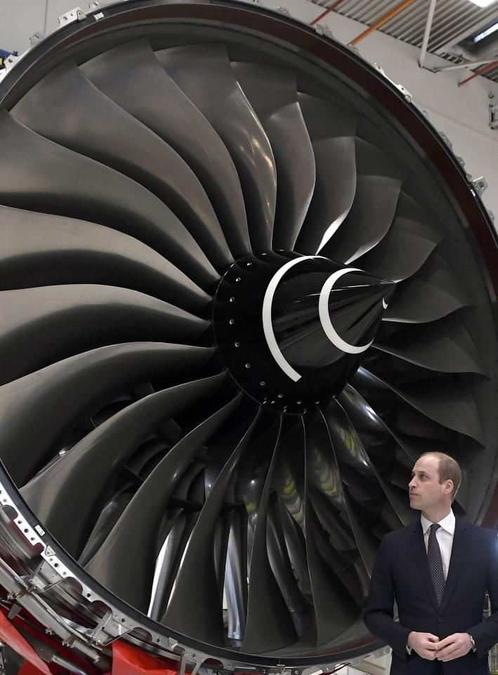 Britain's Prince William, visits the assembly line of the Rolls Royce XWB engine at the Rolls Royce factory in Derby, November 30, 2016. REUTERS/Paul Ellis/Pool
