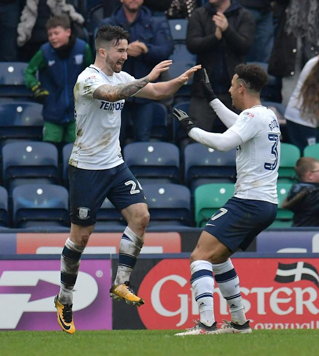 "Soccer Football - Championship - Preston North End vs Fulham - Deepdale, Preston, Britain - March 10, 2018 Preston's Sean Maguire celebrates with Callum Robinson after scoring their second goal Action Images/Paul Burrows EDITORIAL USE ONLY. No use with unauthorized audio, video, data, fixture lists, club/league logos or ""live"" services. Online in-match use limited to 75 images, no video emulation. No use in betting, games or single club/league/player publications. Please contact your account representative for further details."