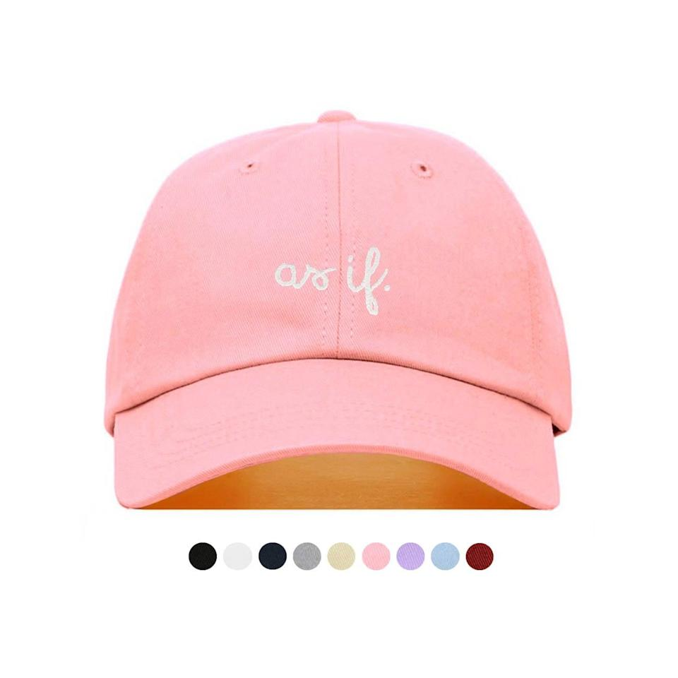 """<p>Channel <strong>Clueless</strong>'s Cher with this pink <span>""""As If"""" Baseball Hat</span> ($16). </p>"""