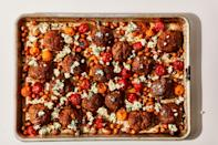 "If you can't find harissa, substitute it by mixing together your favorite hot sauce, tomato paste, a pinch or two of ground cumin, and a drizzle of olive oil. Keep playing with the ratios until you have a medium-spicy paste. <a href=""https://www.bonappetit.com/recipe/sheet-pan-chicken-meatballs-with-tomatoes-and-chickpeas?mbid=synd_yahoo_rss"" rel=""nofollow noopener"" target=""_blank"" data-ylk=""slk:See recipe."" class=""link rapid-noclick-resp"">See recipe.</a>"
