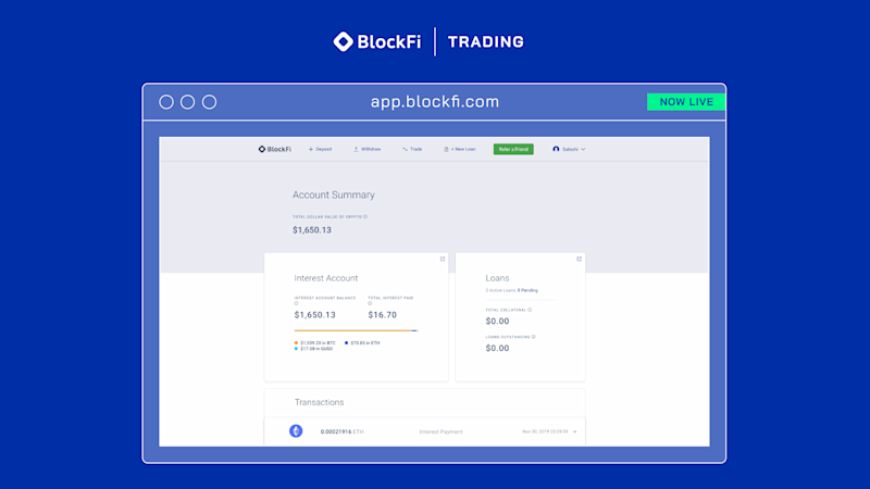 BlockFi's interest account. (Credit: BlockFi)
