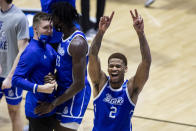 Drake's TremellMurphy (2) celebrates following Drake's 53-52 win over Wichita State in a First Four game in the NCAA men's college basketball tournament Thursday, March 18, 2021, at Mackey Arena in West Lafayette, Ind. (AP Photo/Robert Franklin)