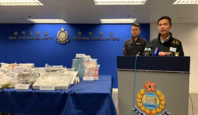Senior Superintendent Chan Tin-chu releases details of the two-day operation during a press briefing. Photo: Handout