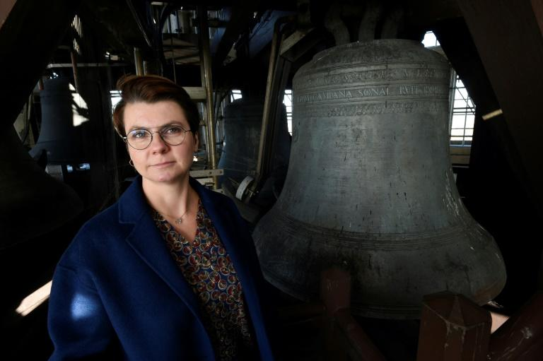 Malgosia Fiebig plays tributes to music legends such as Bowie and Prince on the carillon in the Dom Tower in the Dutch city of Utrecht