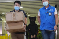 Police officers leave a building with a hooded suspect, center, after searching evidence in Hong Kong Thursday, July 22, 2021. Hong Kong's national security police on Thursday arrested five people from a trade union of the General Association of Hong Kong Speech Therapists on suspicion of conspiring to publish and distribute seditious material, in the latest arrests made amid a crackdown on dissent in the city. (AP Photo/Vincent Yu)