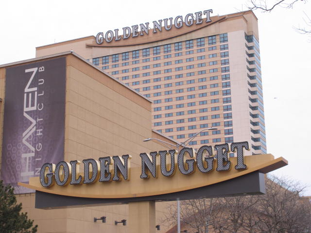 This Feb. 22, 2019 photo shows the exterior of the Golden Nugget casino in Atlantic City N.J. On Friday, Sept. 13, 2019, New Jersey Gov. Phil Murphy signed a bill allowing the casino to accept NBA bets on games that don't involve the Houston Rockets, a team owned by Golden Nugget owner Tilman Fertitta. (AP Photo/Wayne Parry)