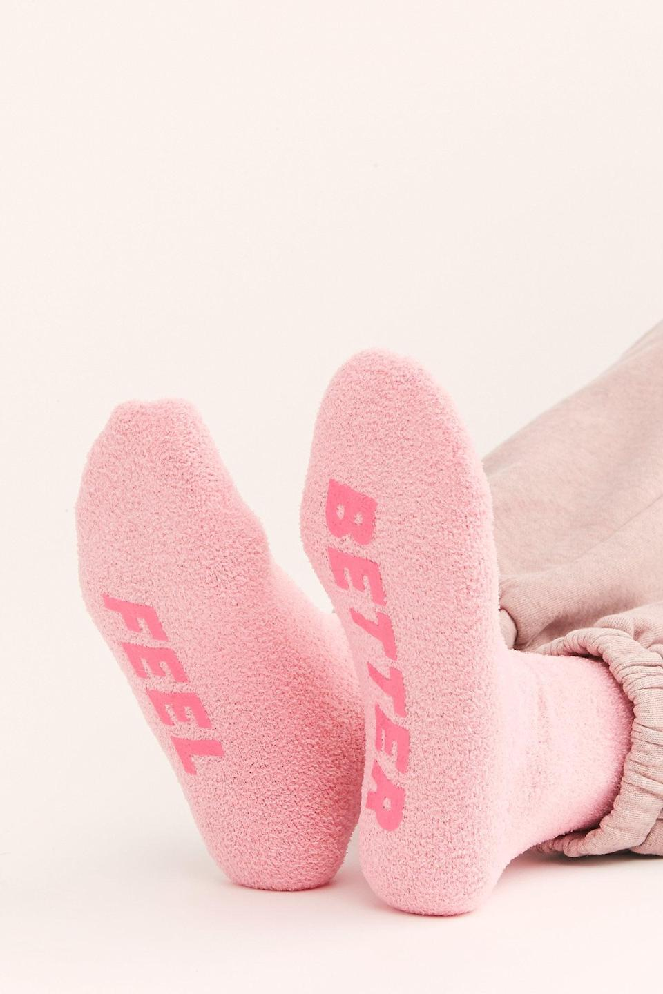 """<p>These <a href=""""https://www.popsugar.com/buy/Feel-Better-Cozy-Grip-Socks-527143?p_name=Feel%20Better%20Cozy%20Grip%20Socks&retailer=freepeople.com&pid=527143&price=12&evar1=fab%3Aus&evar9=45460327&evar98=https%3A%2F%2Fwww.popsugar.com%2Ffashion%2Fphoto-gallery%2F45460327%2Fimage%2F46977993%2FFeel-Better-Cozy-Grip-Socks&list1=shopping%2Cgifts%2Cfree%20people%2Choliday%2Cgift%20guide%2Cgifts%20for%20women&prop13=api&pdata=1"""" class=""""link rapid-noclick-resp"""" rel=""""nofollow noopener"""" target=""""_blank"""" data-ylk=""""slk:Feel Better Cozy Grip Socks"""">Feel Better Cozy Grip Socks</a> ($12) make a great stocking stuffer.</p>"""