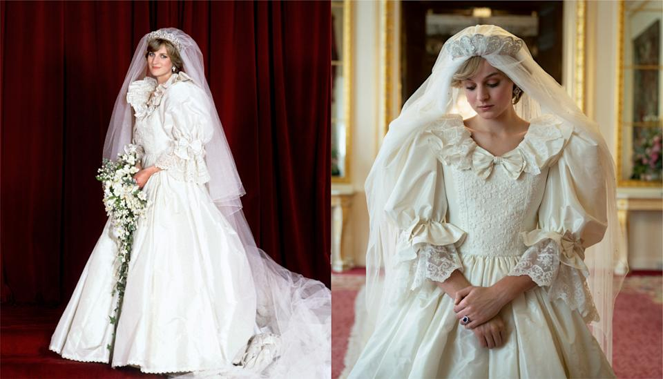 Diana's wedding dress and its on-screen replica