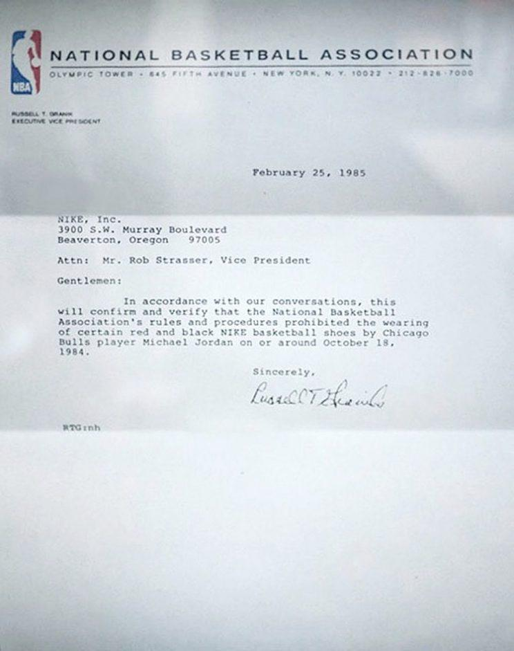 Russ Granik's letter to Nike in 1985.
