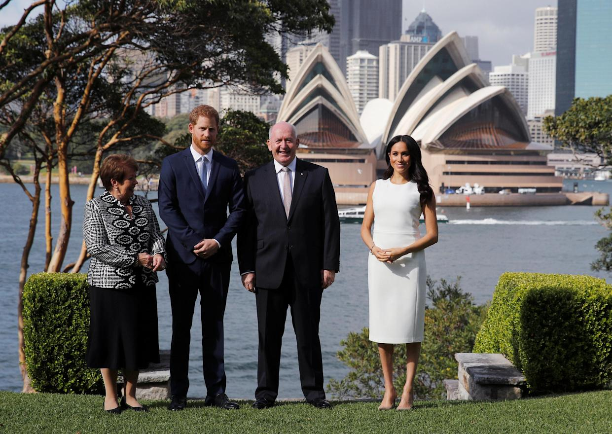 Prince Harry and Meghan were officially welcomed by the Governor-General this morning. Photo: AAP