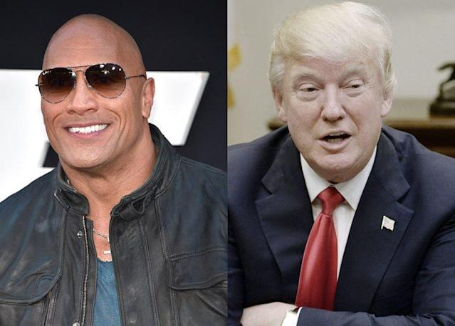 The Rock and the king of Twitter President Trump. (Photo: Getty Images)