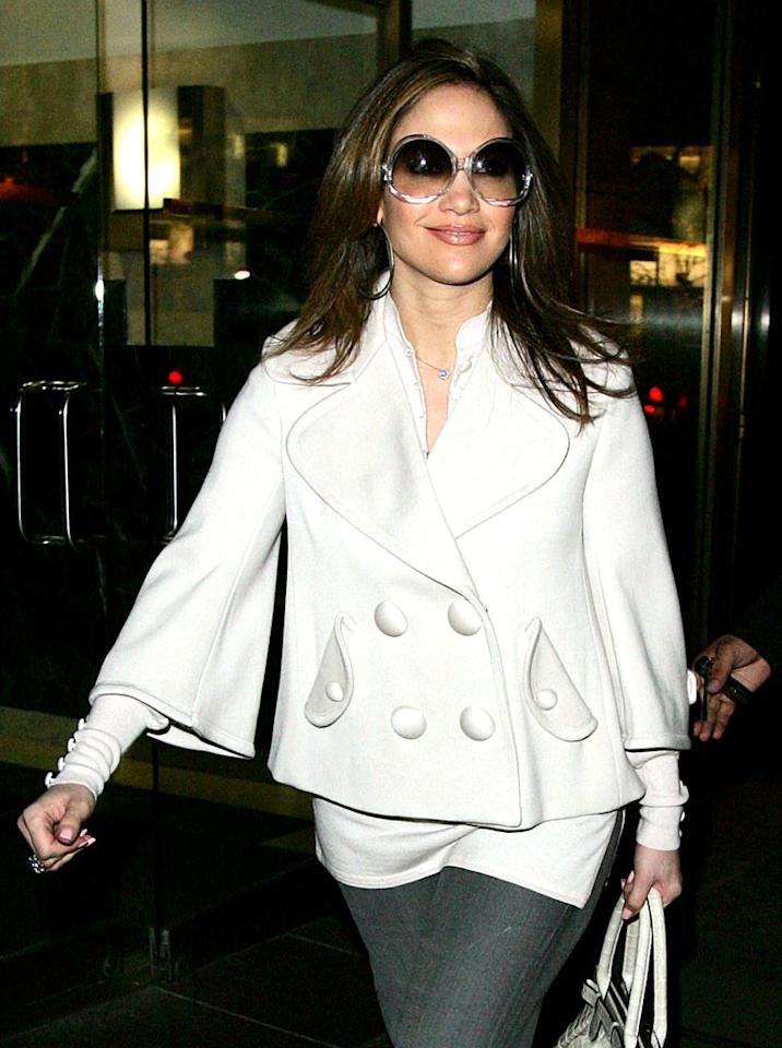 "New mommy Jennifer Lopez opts for treatments at the Rita Hazon Salon in New York. The chic shop features luxurious cuts, champagne pedicures, and spray tanning. <a href=""http://www.infdaily.com"" target=""new"">INFDaily.com</a> - March 28, 2008"