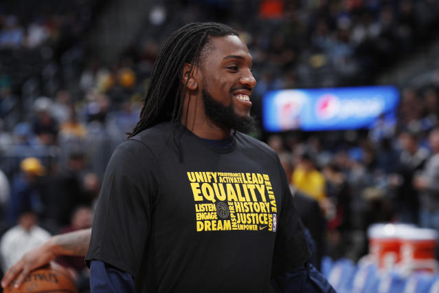 "<a class=""link rapid-noclick-resp"" href=""/nba/players/4904/"" data-ylk=""slk:Kenneth Faried"">Kenneth Faried</a> is reportedly leaving Denver for Brooklyn in a package deal that amounts to a salary dump for the <a class=""link rapid-noclick-resp"" href=""/nba/teams/den"" data-ylk=""slk:Nuggets"">Nuggets</a>. (AP)"
