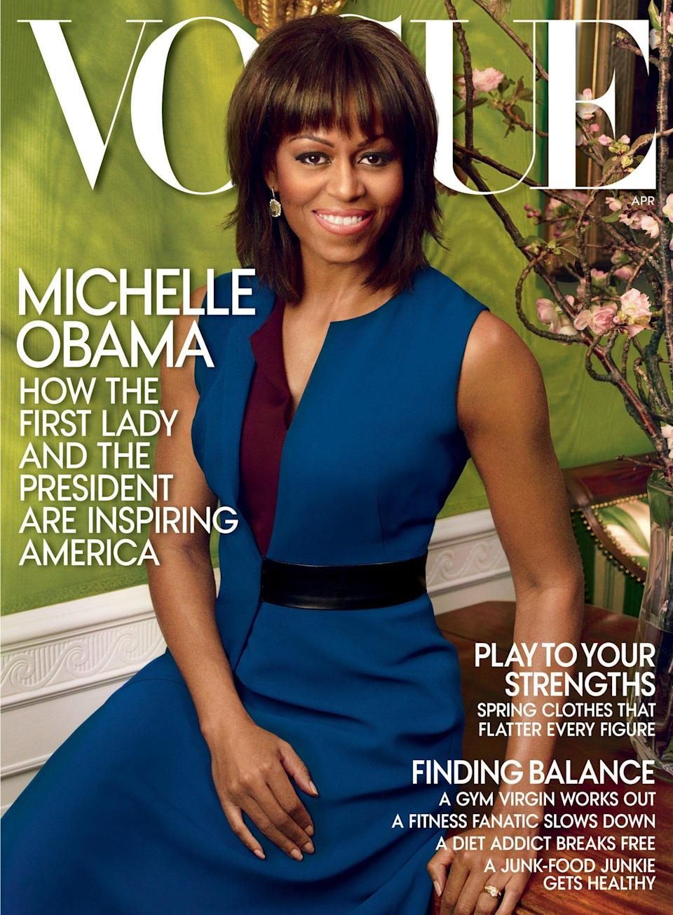 Michelle Obama on the cover of the April 2013 issue of Vogue. - Vogue