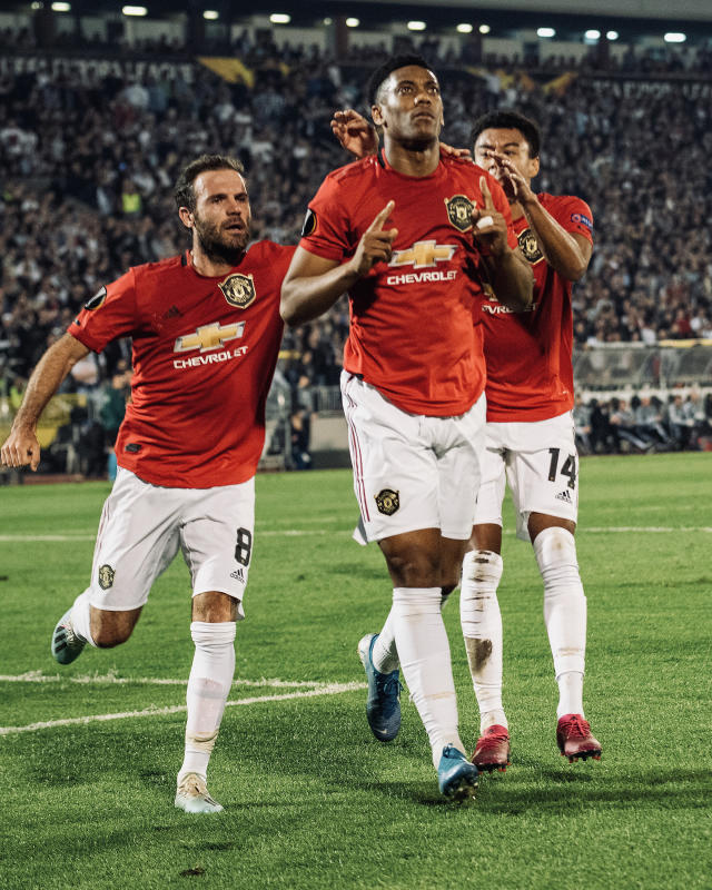 Martial celebrates scoring the opener against Partizan (Photo by Ash Donelon/Manchester United via Getty Images)