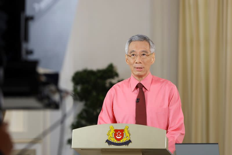 Singapore's Prime Minister Lee Hsien Loong speaks during a national address, in Singapore