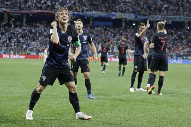 Croatia's Luka Modric celebrates after scoring his side's second goal during the group D match between Argentina and Croatia at the 2018 soccer World Cup in Nizhny Novgorod Stadium in Nizhny Novgorod, Russia, Thursday, June 21, 2018. Modric scored once in Croatia's 3-0 victory. (AP Photo/Ricardo Mazalan)