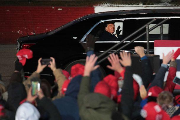 PHOTO: President Donald Trump departs a campaign rally at the LaCrosse Fairgrounds Speedway on Oct. 27, 2020, in West Salem, Wis. (Scott Olson/Getty Images)