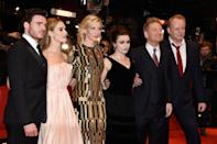 BERLIN, GERMANY - FEBRUARY 13: Richard Madden, Lily James, Cate Blanchett, Helena Bonham Carter, Kenneth Branagh and Stellan Skarsgard attend the 'Cinderella' premiere during the 65th Berlinale International Film Festival at Berlinale Palace on February 13, 2015 in Berlin, Germany. (Photo by Pascal Le Segretain/Getty Images)