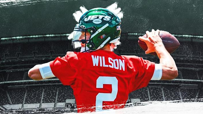 Zach Wilson Treated Image, red jersey green MetLife in background