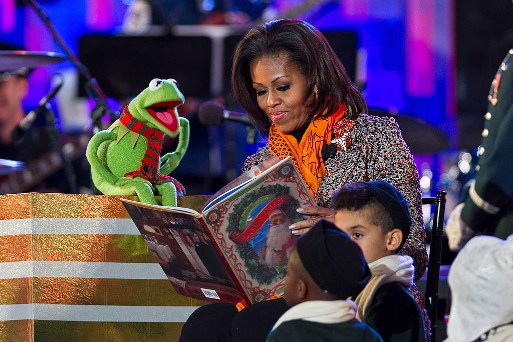 First lady Michelle Obama got some help reading a holiday story to a group of children from none other than Kermit the Frog (who stayed warm with a scarf) on Thursday. The reading was part of this year's National Christmas Tree lighting ceremony at President's Park in Washington, D.C. (12/1/2011)