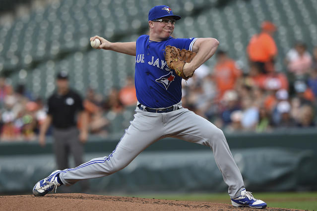 Toronto Blue Jays pitcher Trent Thornton delivers against the Baltimore Orioles during the first inning of a baseball game Tuesday, June 11, 2019, in Baltimore. (AP Photo/Gail Burton)