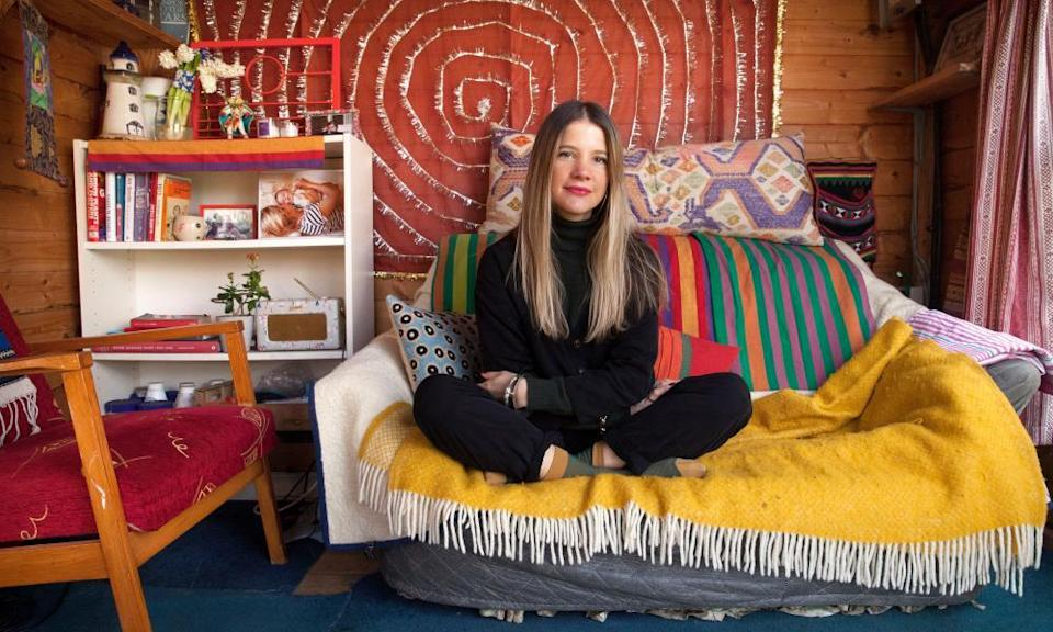 Charlotte Philby in her shed in her garden in Bristol