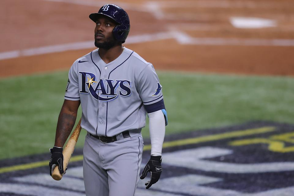 ARLINGTON, TEXAS - OCTOBER 27:  Randy Arozarena #56 of the Tampa Bay Rays reacts after striking out against the Los Angeles Dodgers during the second inning in Game Six of the 2020 MLB World Series at Globe Life Field on October 27, 2020 in Arlington, Texas. (Photo by Ronald Martinez/Getty Images)