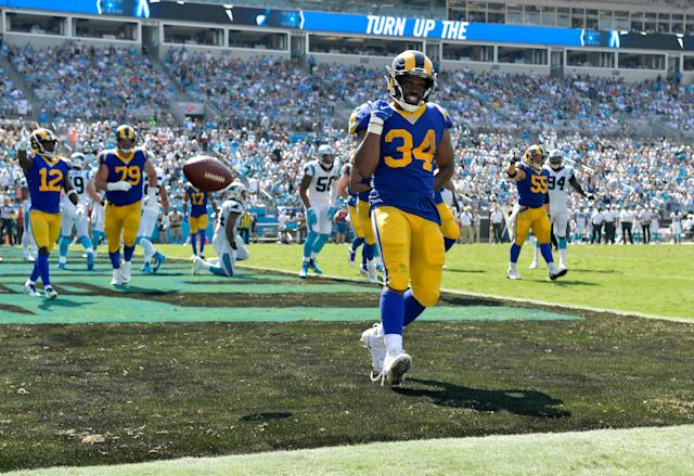 Malcolm Brown visited the end zone twice Sunday. (Grant Halverson/Getty Images)