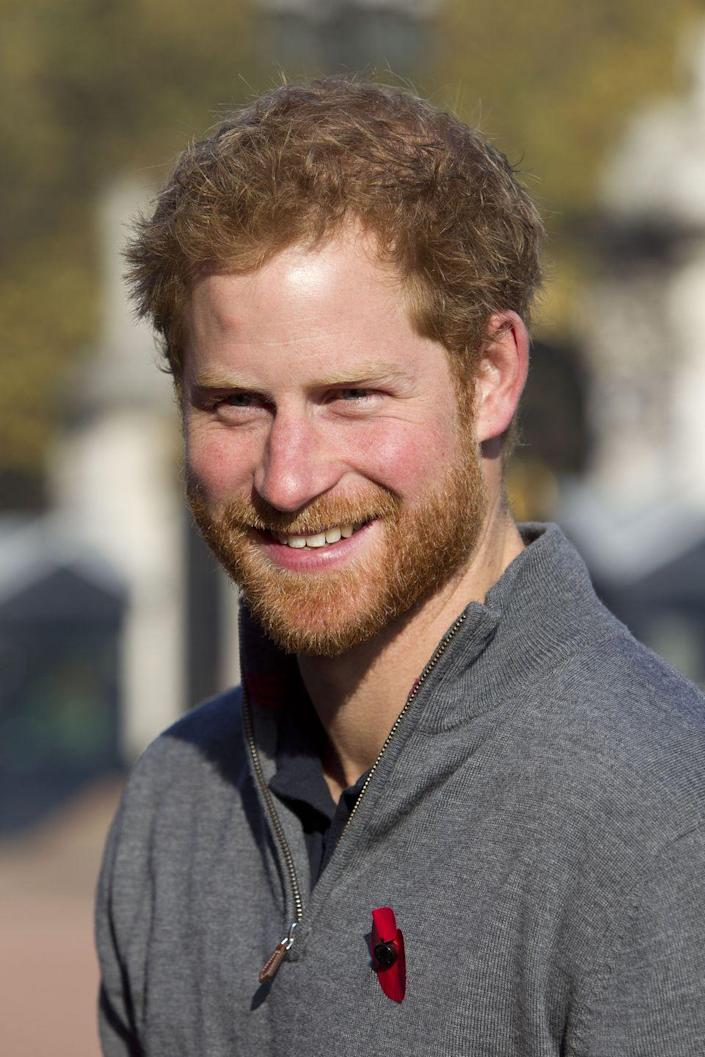 <p>Harry's beard makes a grand return during the prince's meeting with the Walking With the Wounded team in London.</p>